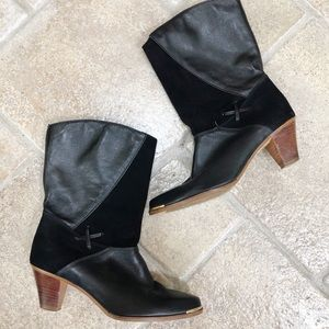 Dingo Black Heel Leather Suede Boots 8.5